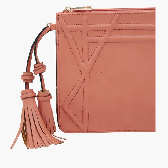 Textured Pouch with Zip Closure and Tassels