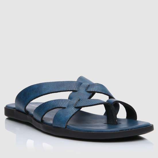 Textured Cross Over Strap Sandals