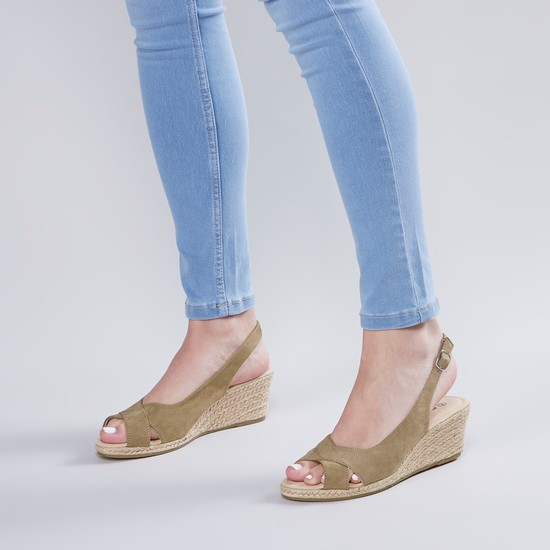 Textured Wedges with Pin Buckle Closure