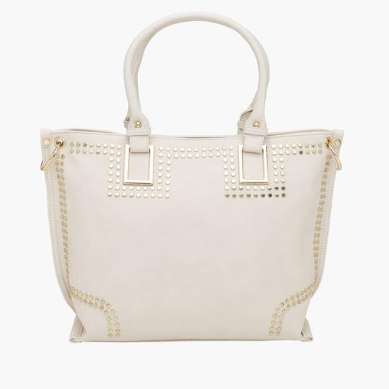 Studded Handbag with Zip Closure