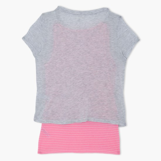 Printed Round Neck Short Sleeves T-Shirt and Striped Camisole Set