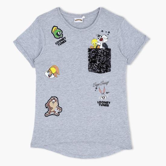 Sequin Design Printed Short Sleeves T-Shirt