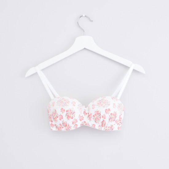 Lace Detail Balconette Bra with Hook and Eye Closure - Set of 2