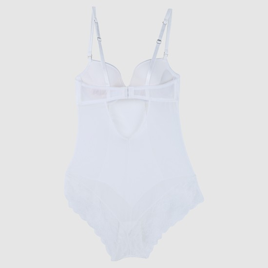 Padded Bodysuit with Lace Detail and Adjustable Straps