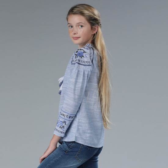Embroidered Long Sleeves Top