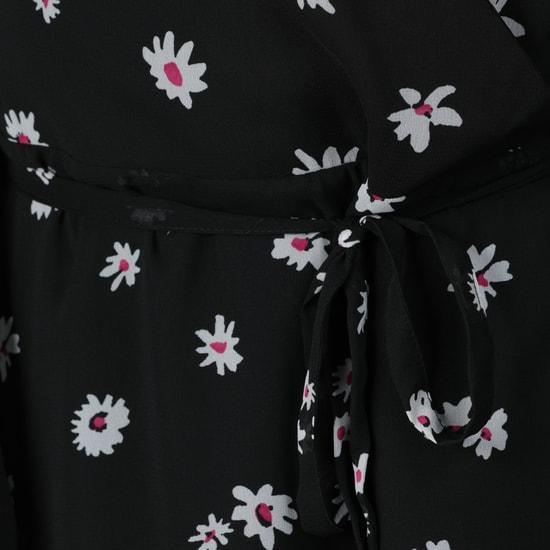 Printed Long Sleeves Wrap Dress