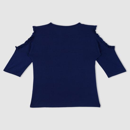 Sequin Embellished Cold Shoulder Top with Frill Trims