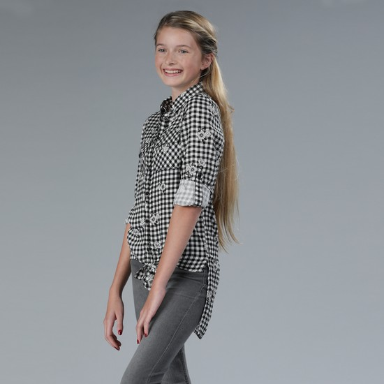 Chequered Roll-Up Sleeves Shirt