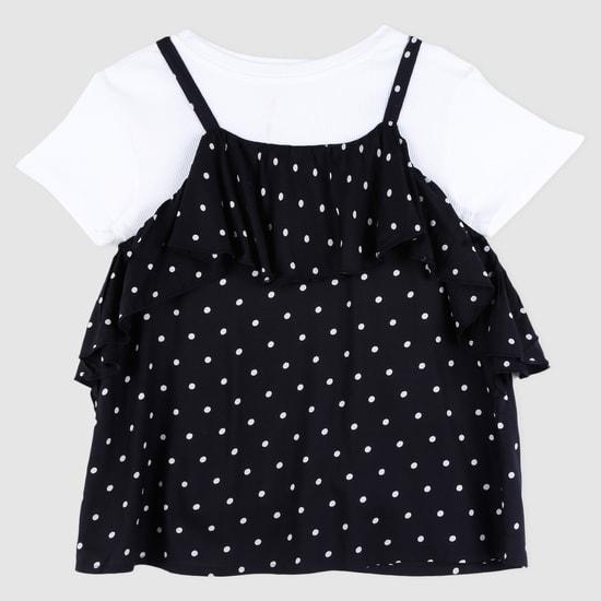 Polka Dot Short Sleeves Top with Frills
