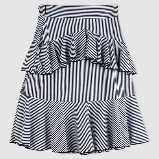 Striped Skirt with Frill Detail