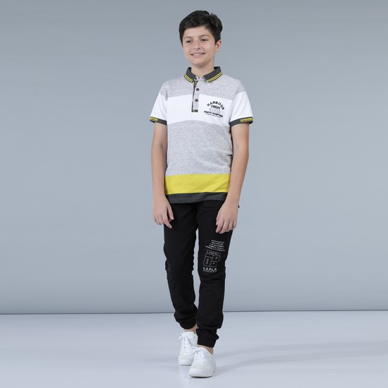 Short Sleeves Polo Neck T-Shirt with Panels