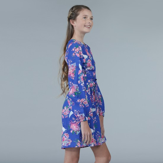 Floral Print Long Sleeves Mini Dress with Lace Tie Up