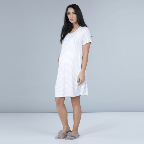 Maternity Striped Sleep Dress with Short Sleeves