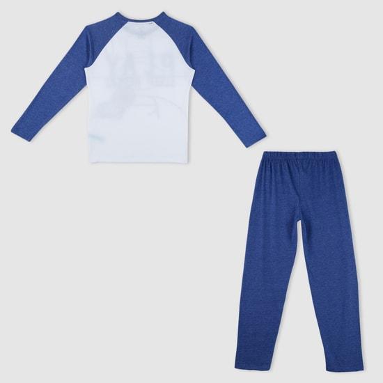 Printed T-Shirt with Pyjama Set