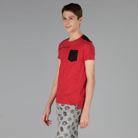 Printed Short Sleeve T-Shirt with Round Neck and Pocket Detailing