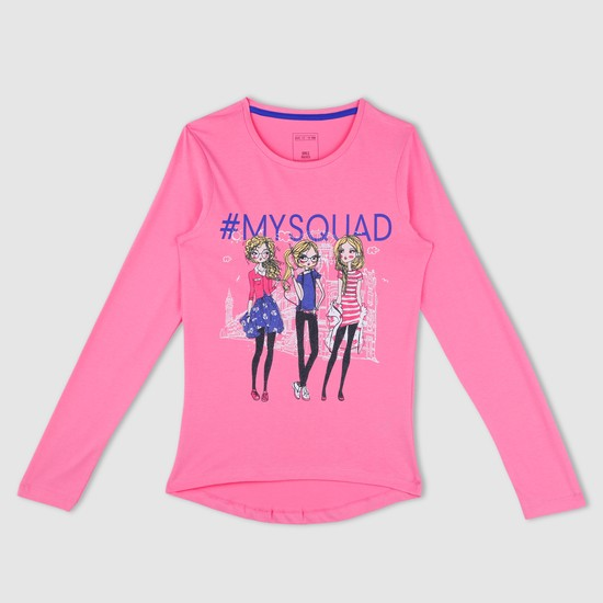 Printed Long Sleeves Round Neck T-Shirt