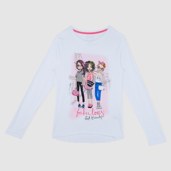 Printed Long Sleeves T-Shirt with Round Neck