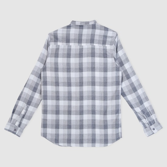 Chequered Long Sleeves Shirt with Mandarin Neck