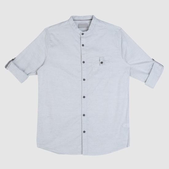 Long Sleeves Shirt with Mandarin Neck
