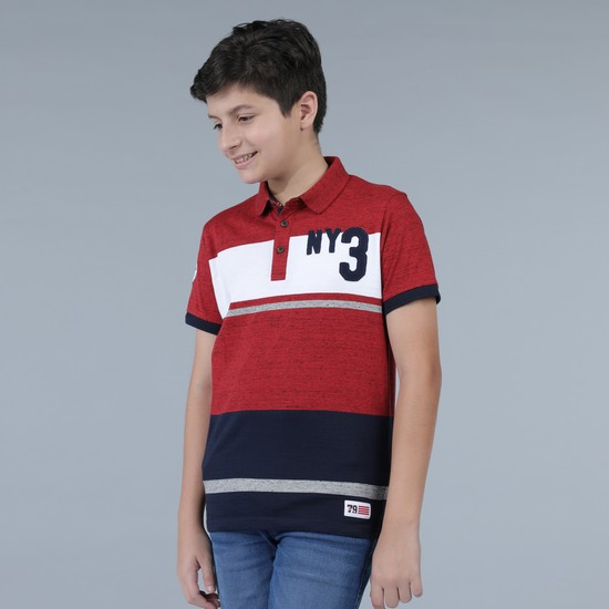 Polo Neck T-Shirt with Applique Detail