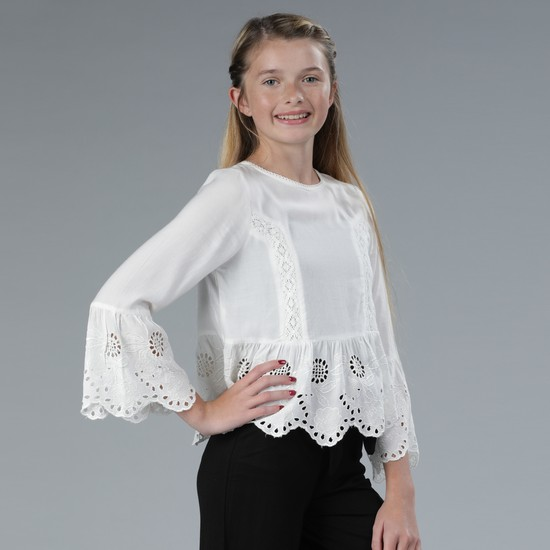 Round Neck Lace Detail Top