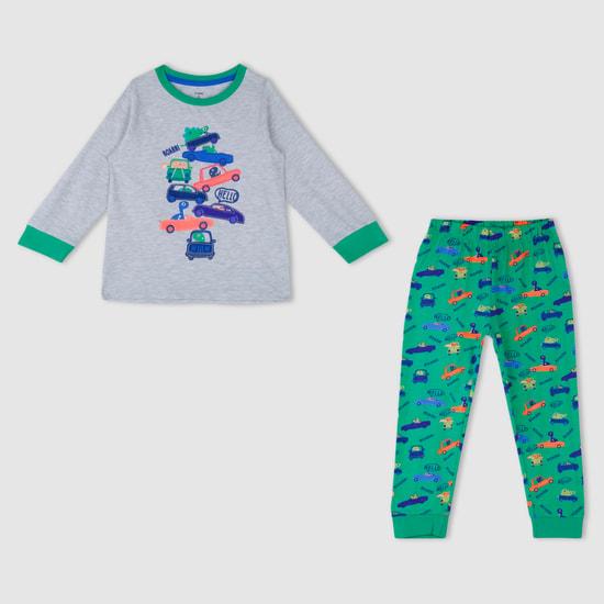 Melange Long Sleeves Pyjama Set with Applique Work