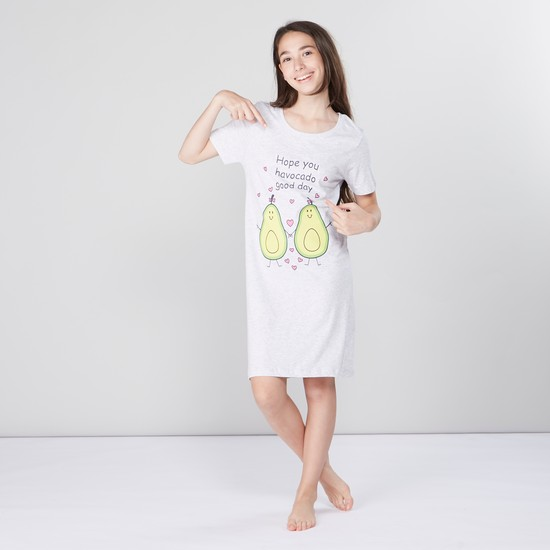 Printed Sleepshirt with Round Neck and Short Sleeves