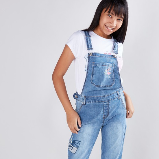 Floral Embroidered Dungarees