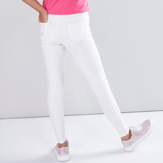 Lace and Pocket Detail Jeggings with Elasticised Waistband