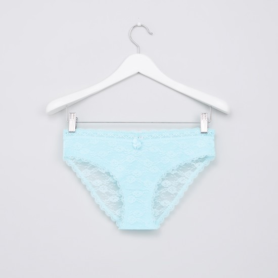 Lace Detail Bikini Briefs with Elasticised Waistband