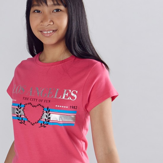 Los Angeles Printed Round Neck T-Shirt with Short Sleeves
