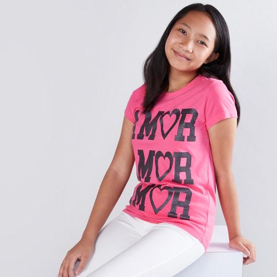 Glitter Printed Short Sleeves T-Shirt