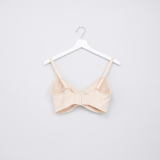 Bow Applique Basic Bra with Hook and Eye Closure - Set of 2