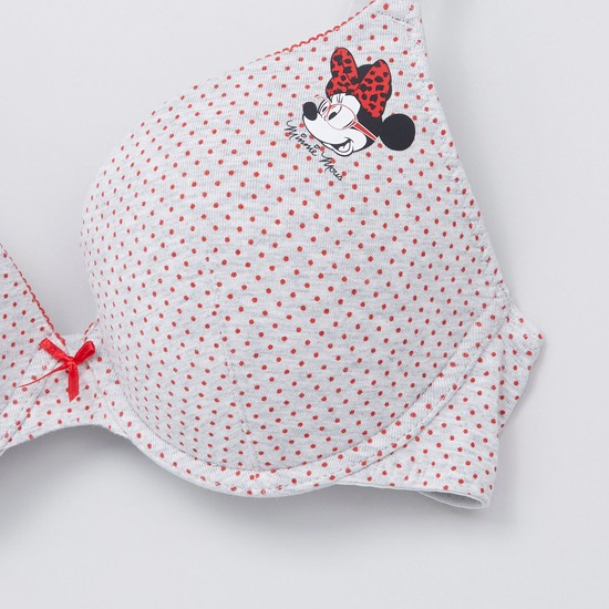 Minnie Mouse Printed T-Shirt Bra with Hook and Eye Closure