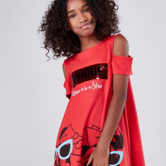 Minnie Mouse Printed Sequin Detail Cold Shoulder Dress