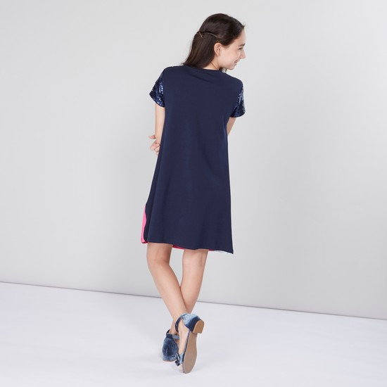 Princess Printed Round Neck A-line Dress with Short Sleeves