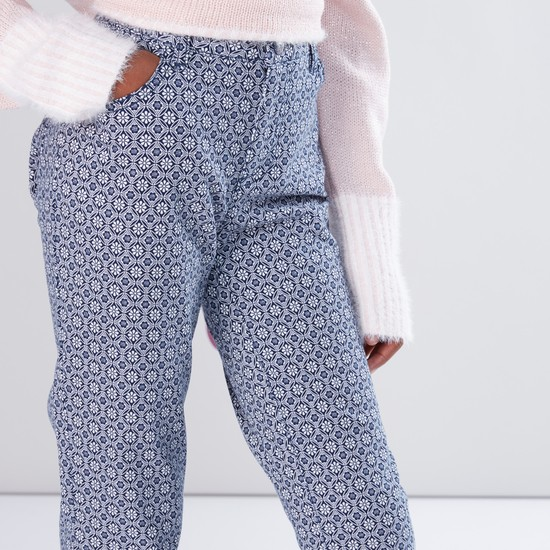Printed Pants with Button Closure and Pocket Detail