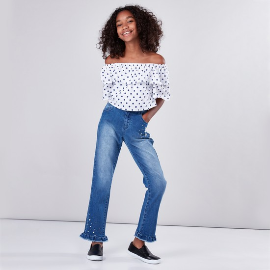 Polka Dot Printed Off Shoulder Top