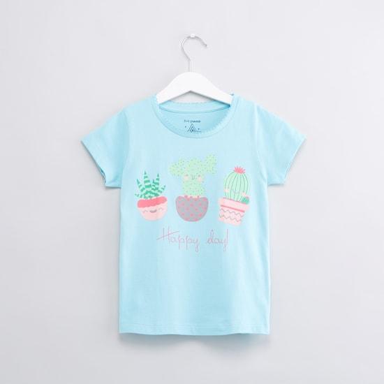 Printed Short Sleeves T-Shirt with Jog Pants - Set of 2