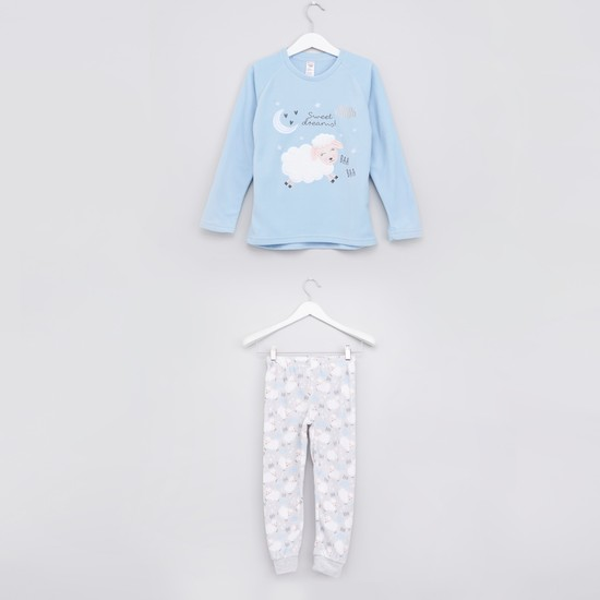 Embroidered T-Shirt with Printed Jog Pants
