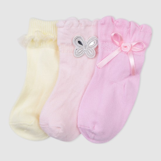 Applique Detail Socks - Set of 3