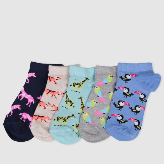 Printed Ankle Socks - Set of 5