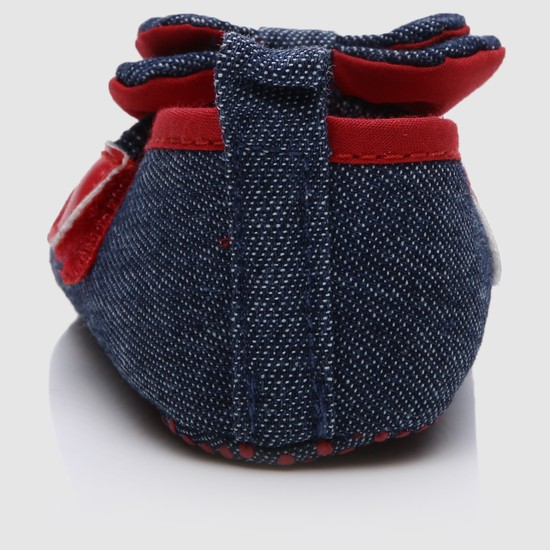 Bow Applique Booties with Hook and Loop Closure