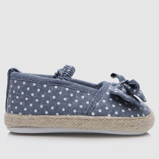 Printed Booties with Elasticised Band and Bow Applique