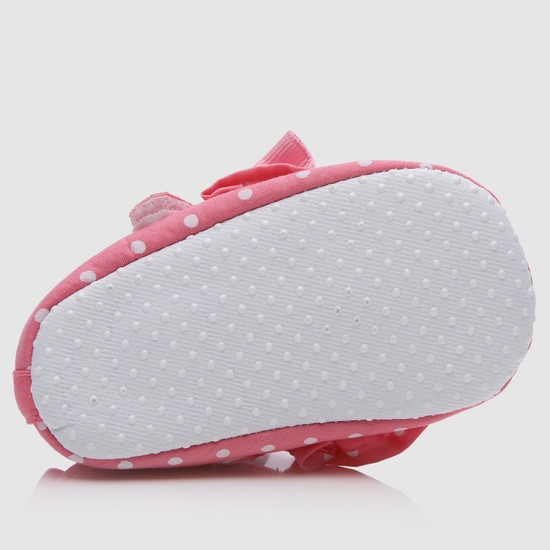 Polka-Dot Printed Booties with Hook and Loop Closure