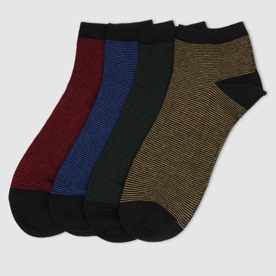 Striped Ankle Socks - Set of 4
