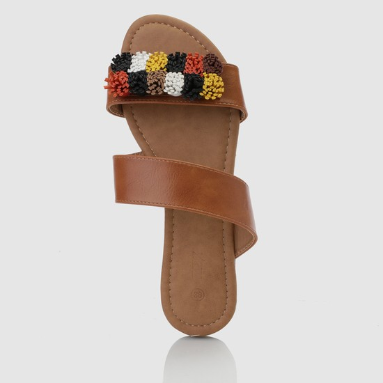 Tassel Detail Dual Strap Sandals