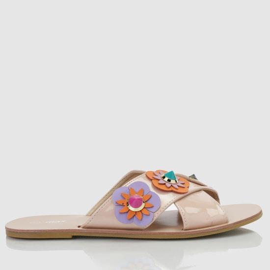 Embellished Cross Strap Sandals