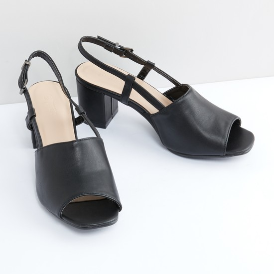 Open Toe Slingback Sandals with Pin Buckle Closure