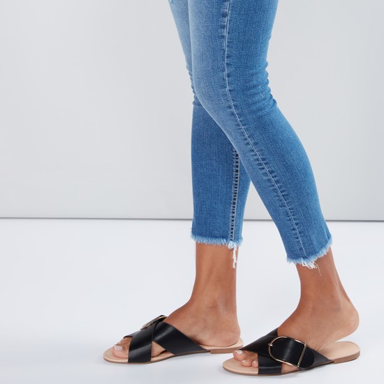 Cross Strap Slides with Pin Buckle Detail